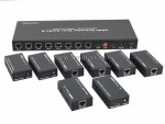 3D EDID 8 Port HDMI Balun Extender Video Amplifier Splitter transmitter receiver Over Ethernet 50M 1080P